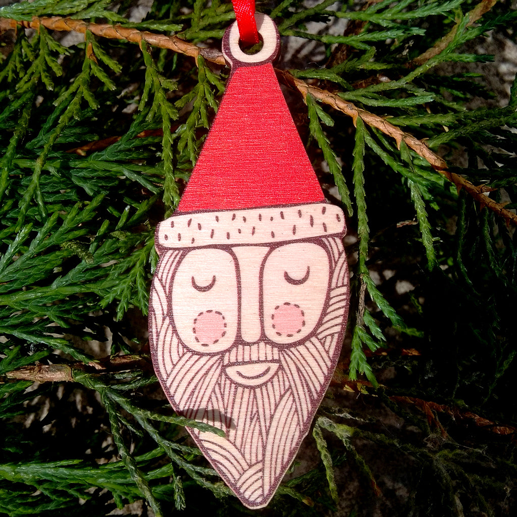 Mr Santa wooden decoration