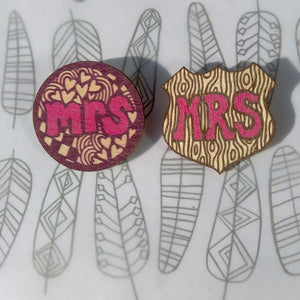 SALE - Mr & Mrs wooden shield Brooches