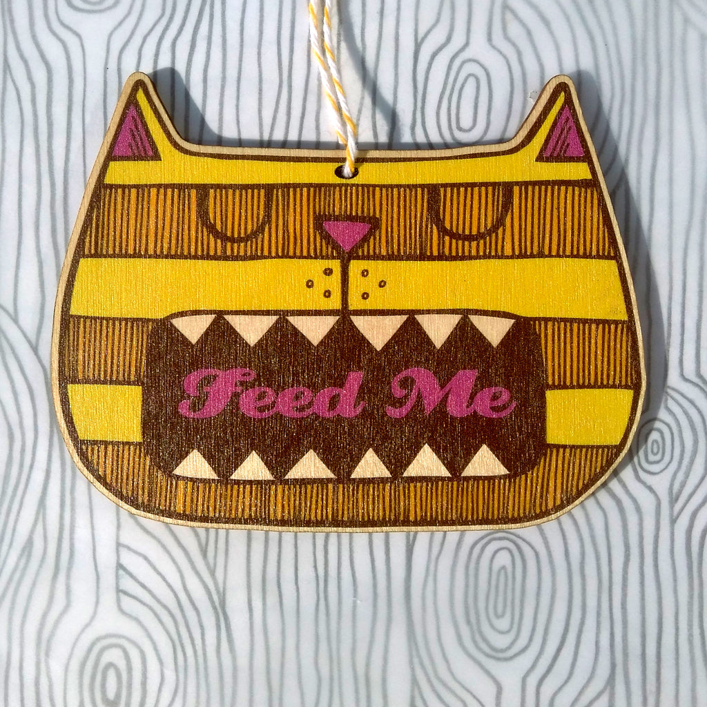 SALE - Wooden Feed Me Cat