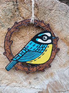 Blue tit wooden decoration