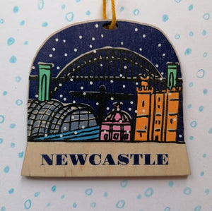 Newcastle snow globe decoration