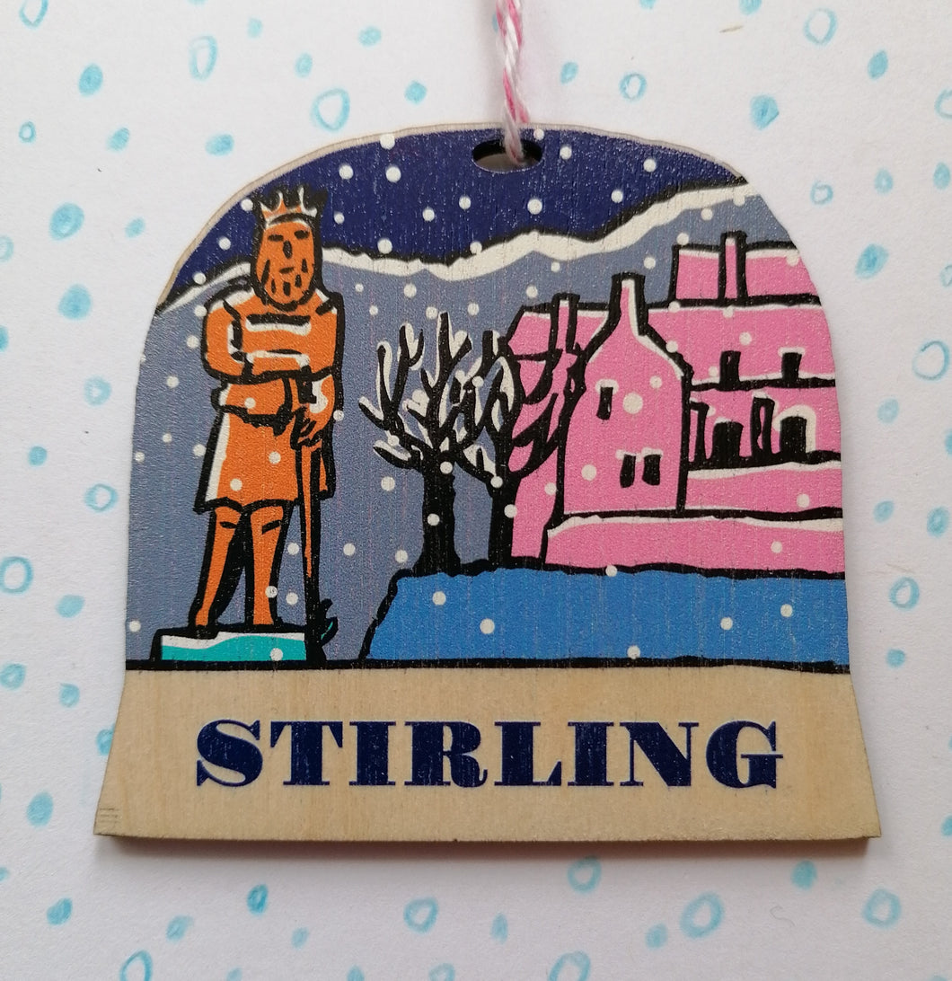 Stirling snow globe decoration