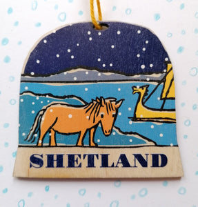 Shetland snow globe decoration