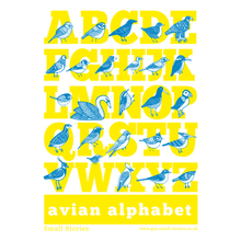 SALE - Avian Alphabet cotton tea-towel