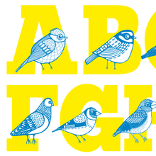 Avian Alphabet cotton tea-towel