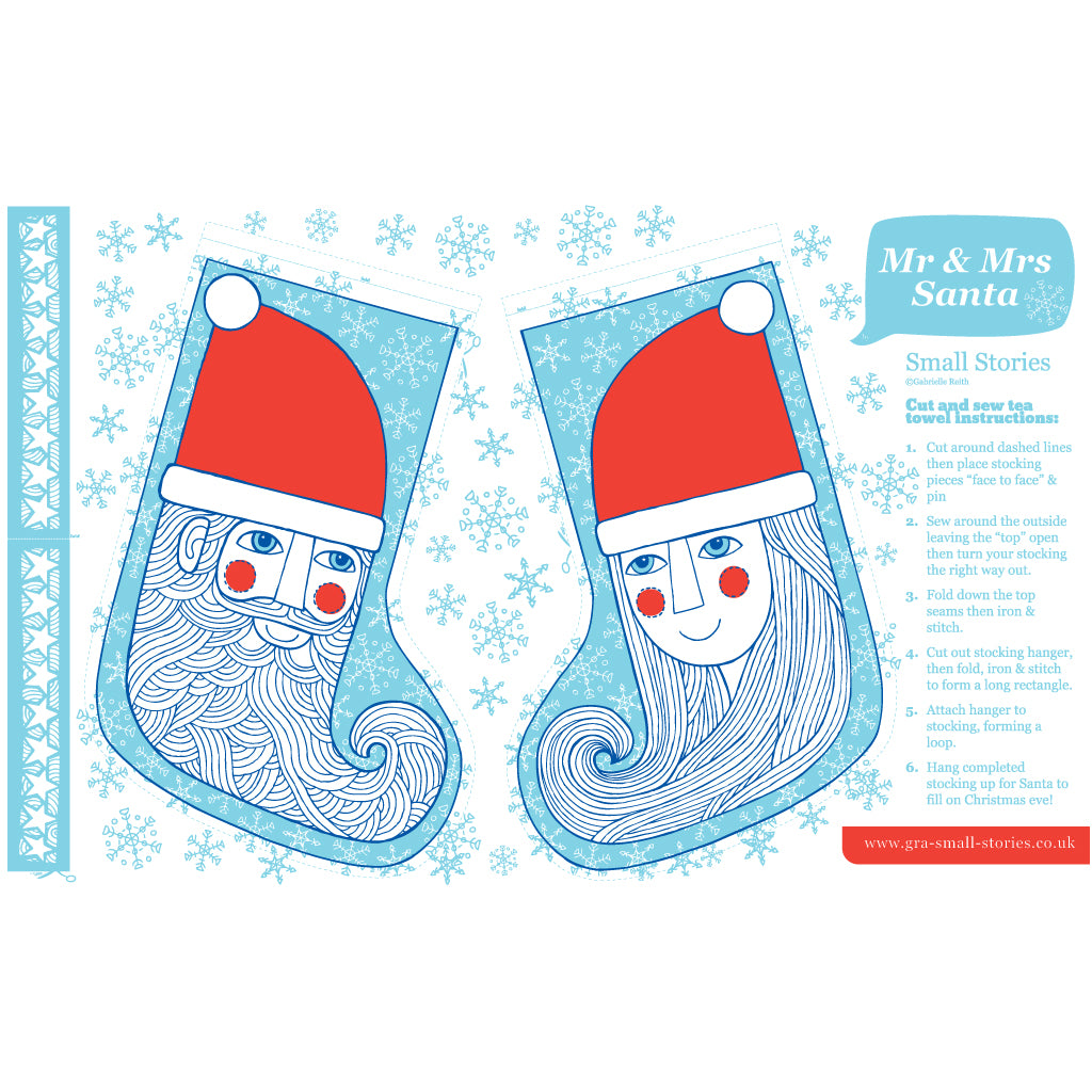 SALE - Mr & Mrs Santa cotton cut & sew tea-towel