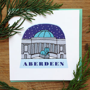 Aberdeen Lion snow globe greetings card