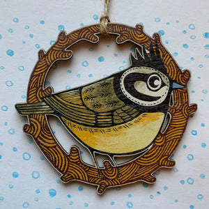 Crested Tit wooden decoration