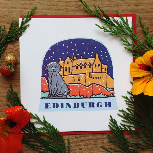 Edinburgh snow globe greetings card