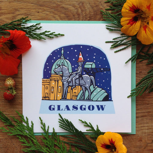 Glasgow snow globe greetings card