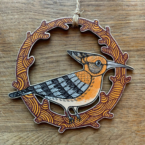 Hoopoe wooden decoration