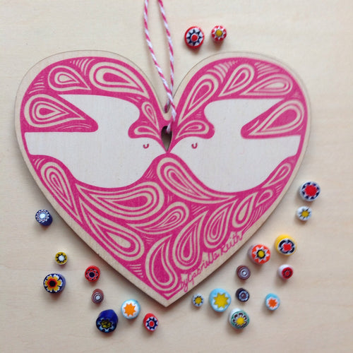 SALE - Lovebirds heart decoration