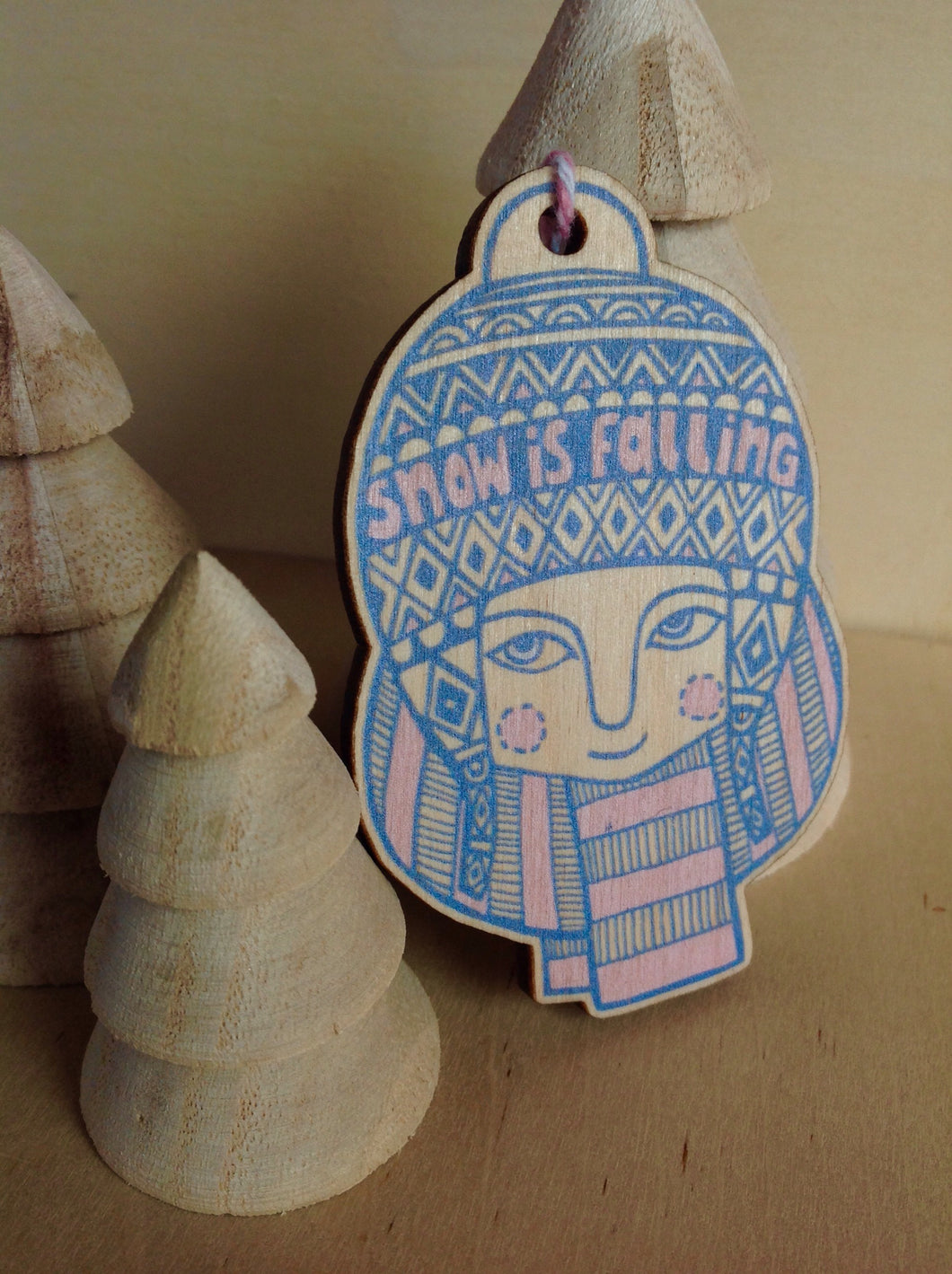 SALE - Snow is falling wooden decoration