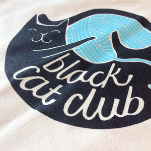 HALF PRICE SALE - Black Cat Club tote bag