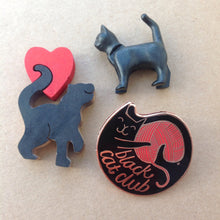 Black cat club pin badge