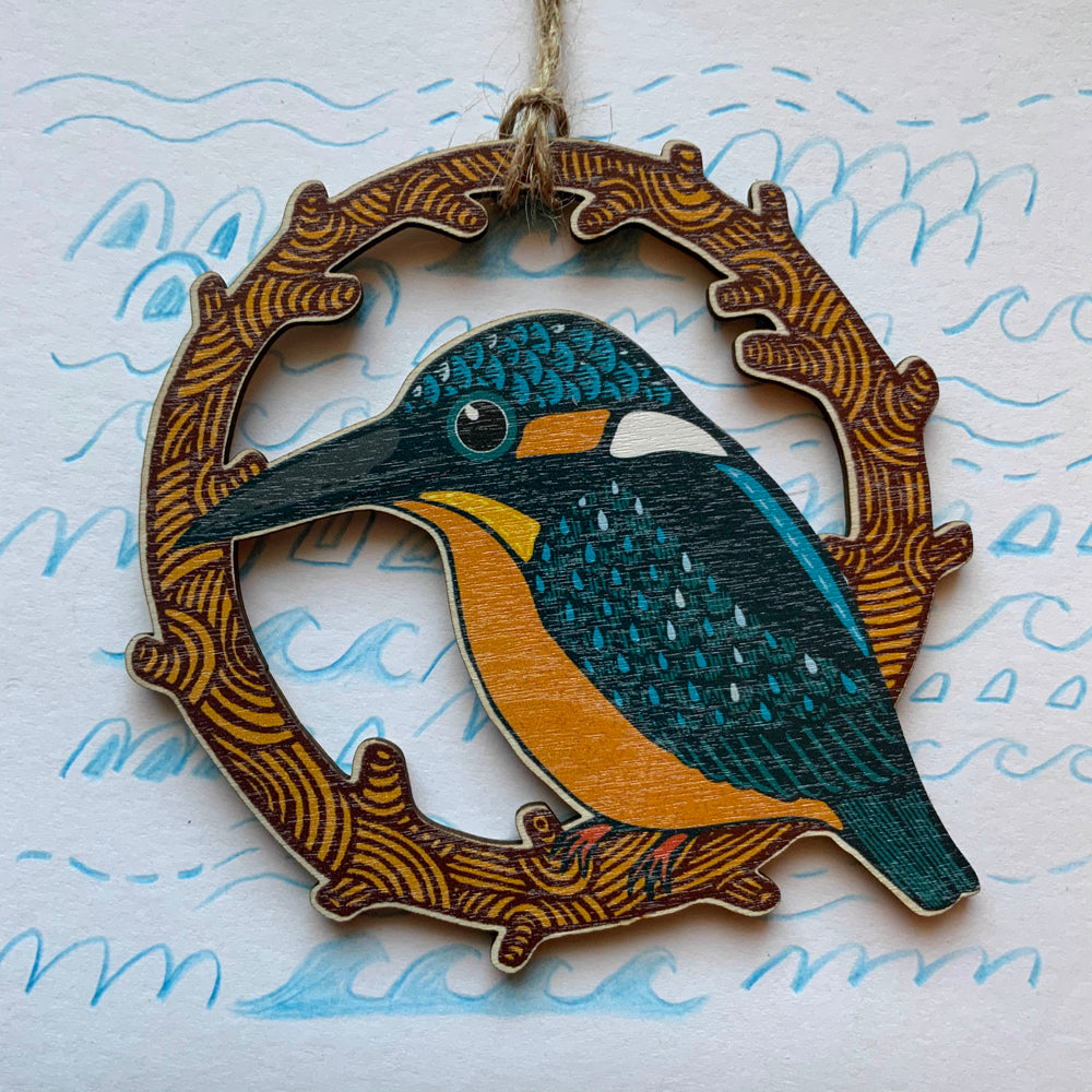 Kingfisher wooden decoration