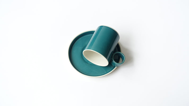 handmade porcelain coffee cup and saucer
