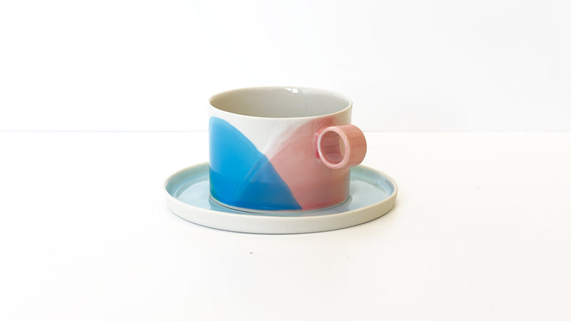 handmade porcelain tea cup and saucer