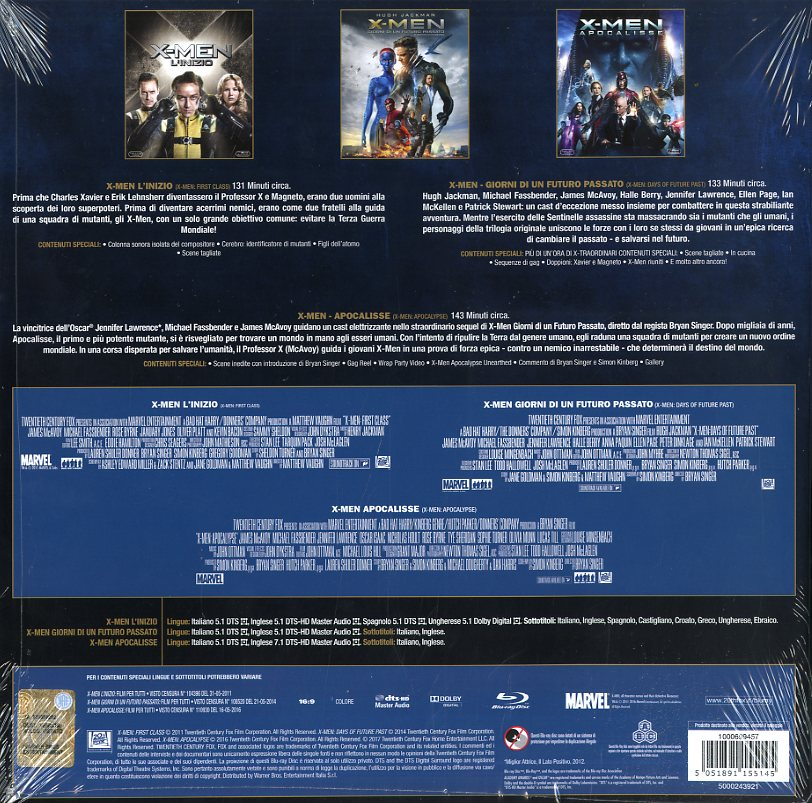 X Men La Trilogia Originale (Box 3 Br Vinyl Edit.)  [Blu-Ray x 3]
