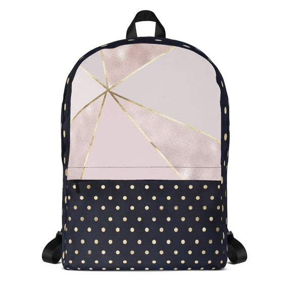 Black and Pink Marble Backpack Laptop Bag