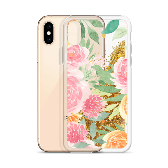 Watercolor Flowers Glitter Iphone Case