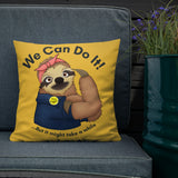 Sloth Rosie the Riveter Indoor Outdoor Accent Pillow - Esdee Designs