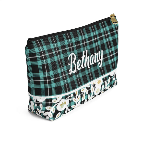 Plaid Floral Accessory Pouch with T-bottom