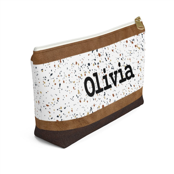 Terrazzo Faux Leather Accessory Pouch with T-bottom