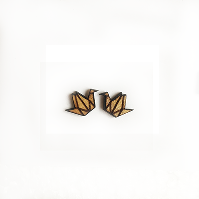 Origami Crane Stud Earrings - Esdee Designs