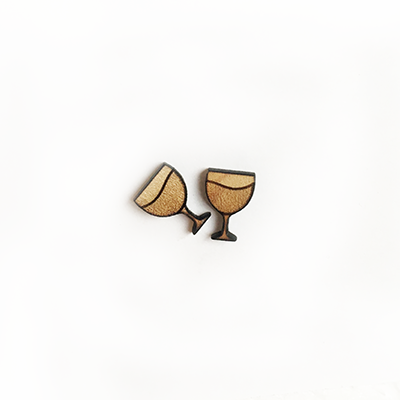 Wine Glass Stud Earrings Version 1 - Esdee Designs