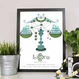Libra horoscope metallic art print - Esdee Designs