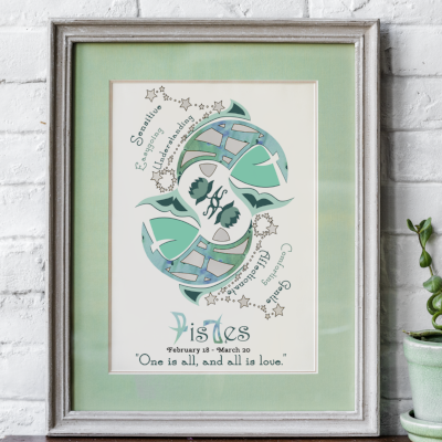 Pisces horoscope metallic art print - Esdee Designs