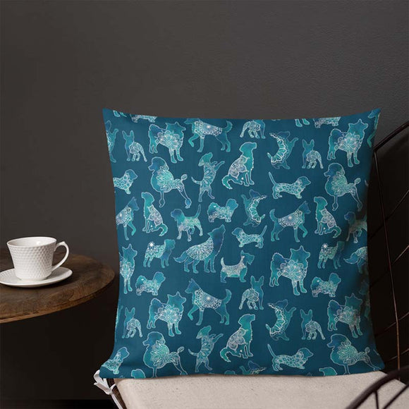 Dog Pattern Indoor Outdoor Accent Pillow - Esdee Designs
