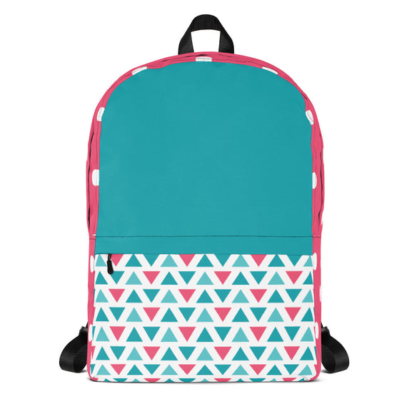 Pink and Teal Backpack Laptop Bag