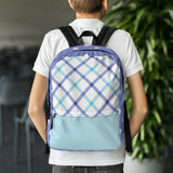 Lilac Plaid Backpack Laptop Bag