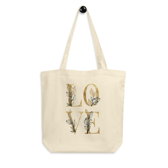Floral Letter Love Organic Cotton Tote Bag