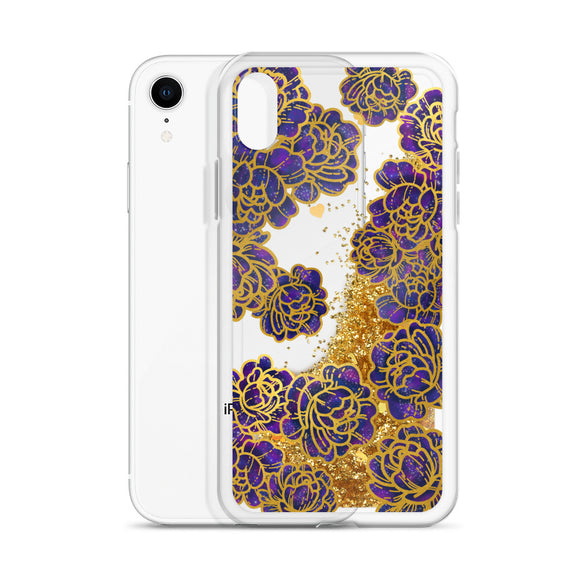 Space Flowers Liquid Glitter Iphone Case