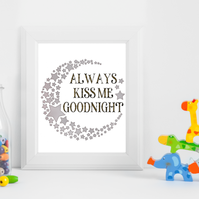 Goodnight quote metallic art print - Esdee Designs