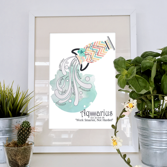 Aquarius horoscope metallic art print - Esdee Designs