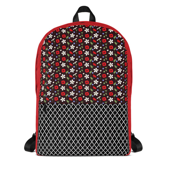 Crimson Floral Backpack Laptop Bag