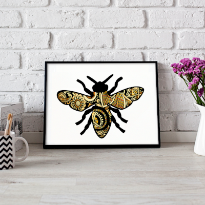 Bee metallic art print - Esdee Designs