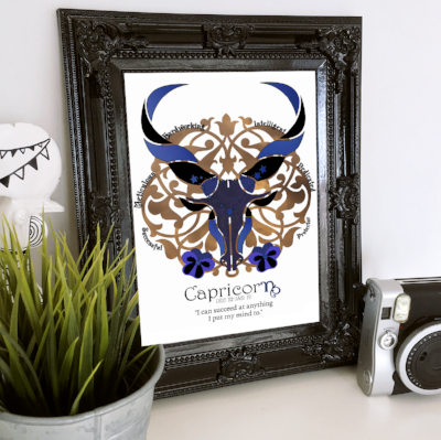 Capricorn horoscope metallic art print - Esdee Designs