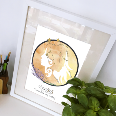 Gemini horoscope metallic art print - Esdee Designs