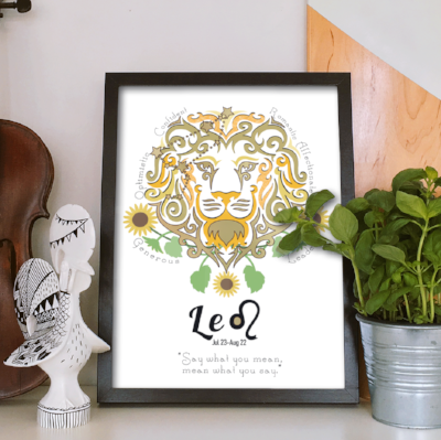 Leo horoscope metallic art print - Esdee Designs