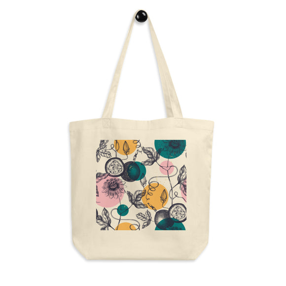 Floral and Fruit Organic Cotton Tote Bag