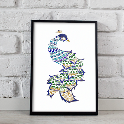 Peacock metallic art print - Esdee Designs