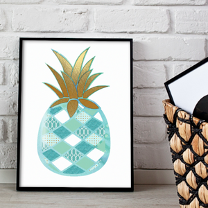 Pineapple metallic art print - Esdee Designs