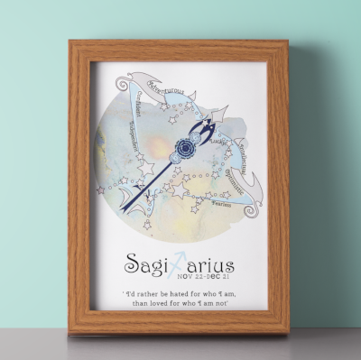 Sagittarius horoscope metallic art print - Esdee Designs