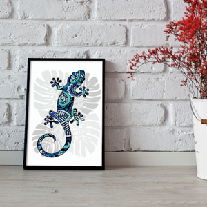 Salamander metallic art print - Esdee Designs