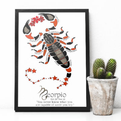 Scorpio horoscope metallic art print - Esdee Designs